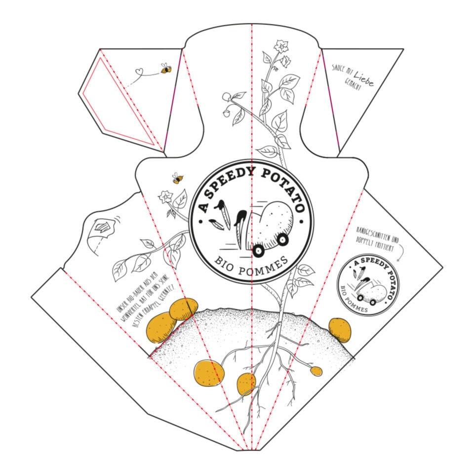 nachhaltiges grafik design salzburg Cabreras verpackung pommes