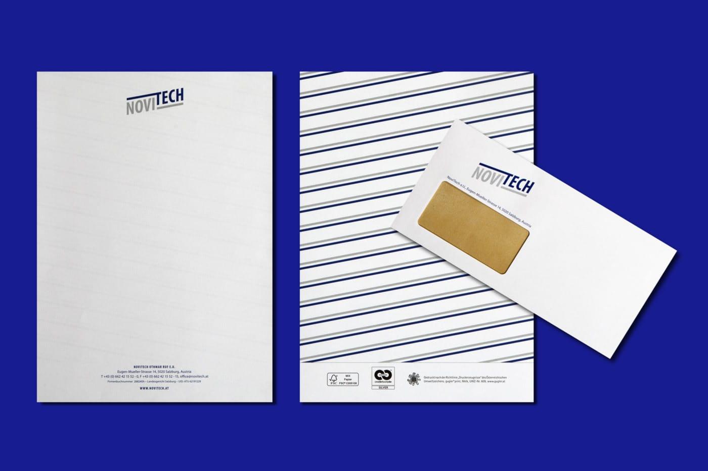 nachhaltiges web design salzburg Novitech briefpapier