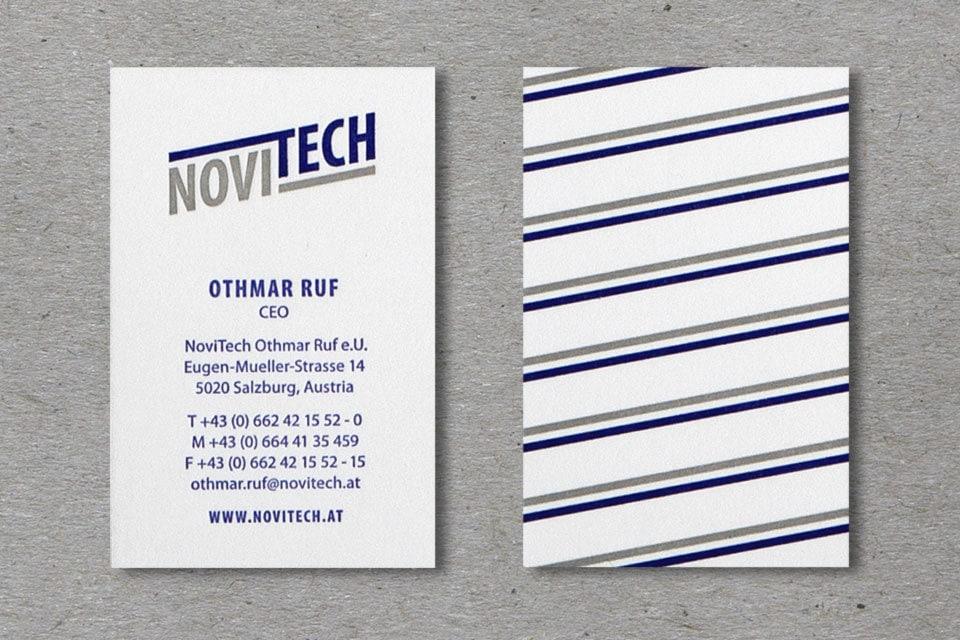 nachhaltiges grafik design salzburg Novitech Visitenkarten