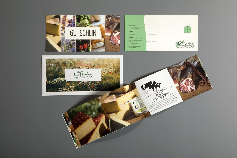 nachhaltiges grafik design salzburg bioladen seeham broschuere gutschein
