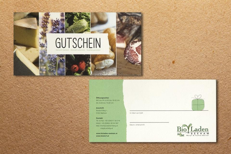 nachhaltiges grafik design salzburg bioladen seeham gutschein