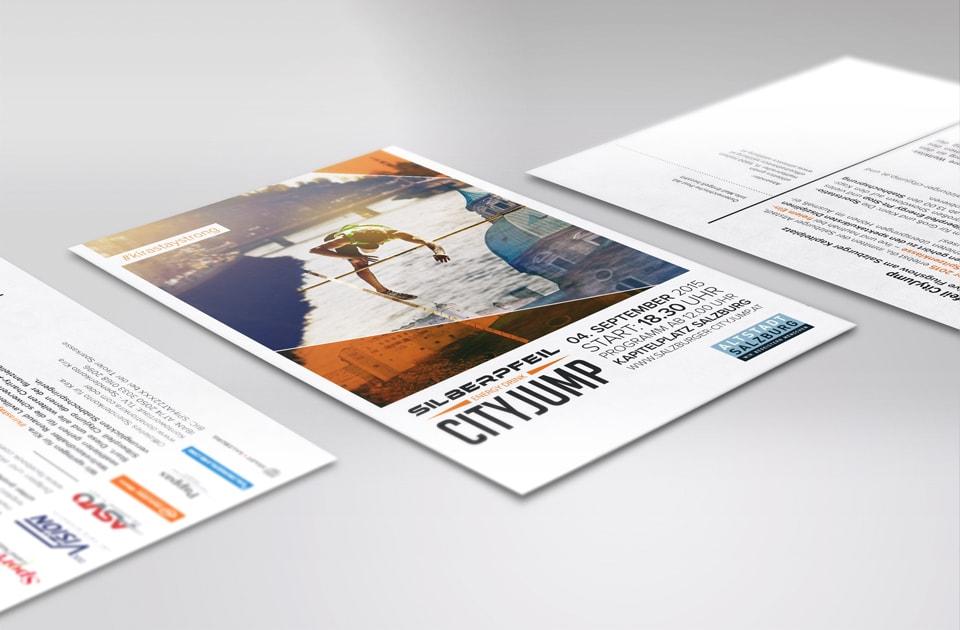nachhaltiges grafik design salzburg city jump flyer