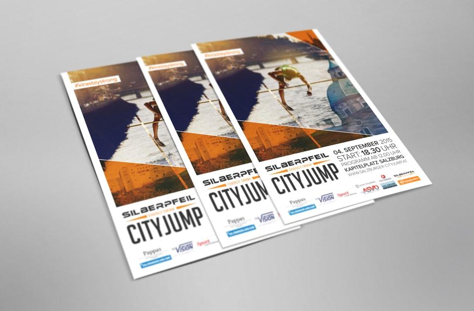 nachhaltiges grafik design salzburg city jump plakat