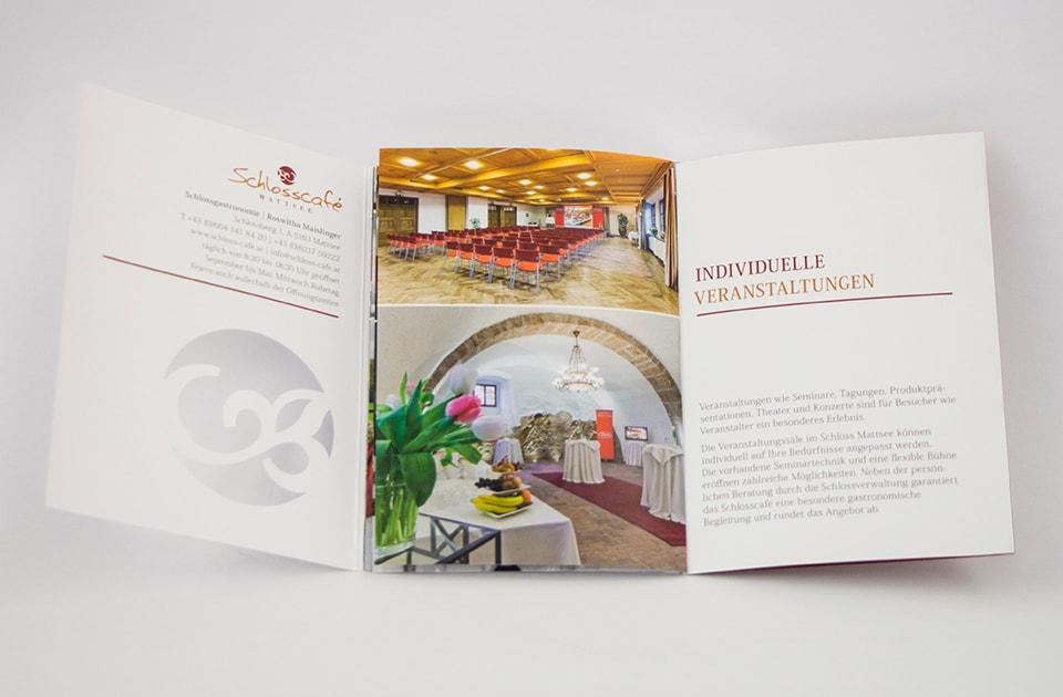 nachhaltiges grafik design salzburg schlosscafe folder veranstaltungen